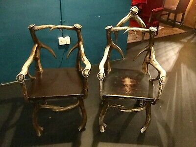 His & Hers -  Game of Thrones Inspired Antler Throne Wooden Chairs Ref A