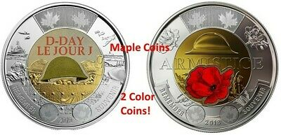 NEW! 2019 75th D-Day Color + 2018 Armistice Color Canada Coin Toonie $2 BU UNC
