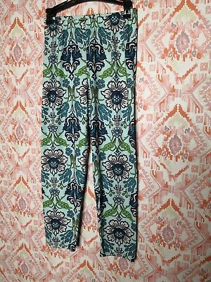 Persnickety Girls Size 12 Legging Pants Full Length Geometric Floral Blue Green