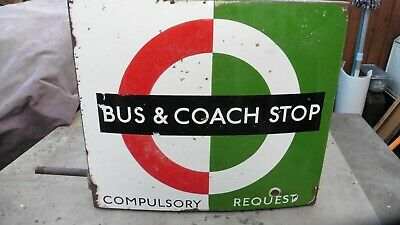 ENAMEL SIGN double sided vintage coach bus