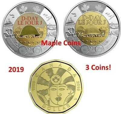 2019 $2 D-Day Color&No-Color Toonie + 2019 $1 EQUALITY Loonie Canada Coin BU UNC