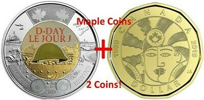 2019 $2 D-Day COLOR Toonie + 2019 $1 EQUALITY Loonie Canada Coin BU UNCIRCULATED