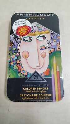 Prismacolor Premier Colored Pencils Soft Core 24-Count Tin Case New
