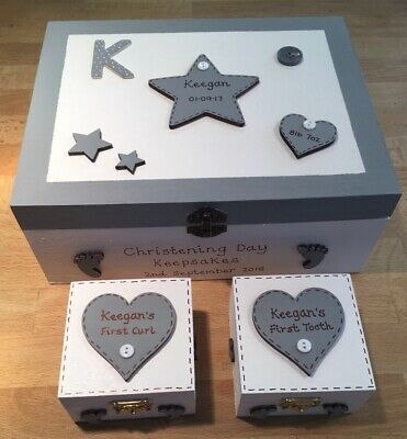 Baby Keepsake Box Set Memory Boxes First Curl First Tooth Set Christening Gift