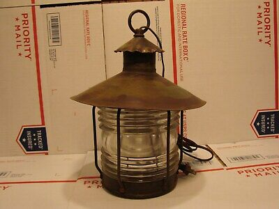 Nautical Marine Copper / Brass Electric Hanging Fresnel Lens Lamp Light