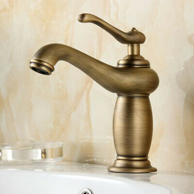 Antique Brass Water Taps Sink Rotary Basin Faucet for Bathroom Home-Bronze