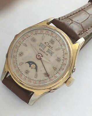25 Jewels Swiss made Moonphase Elge mens vintage Automatic watch