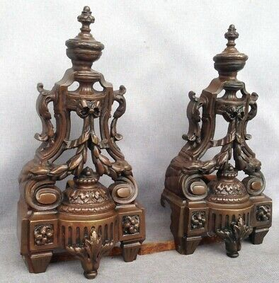 Antique pair of Louis XVI andirons made of bronze France 19th century fireplace