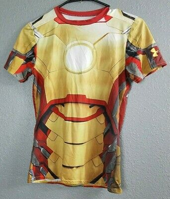 cb89e554 UA Iron Man Marvel T-Shirt Youth YL Fitted Heat Gear Boys Under Armour