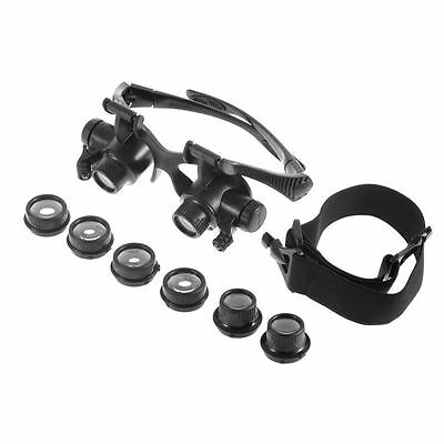 10X 15X 20X 25X LED Glasses Jeweler Magnifier Watch Repair Magnifying Loupe EB