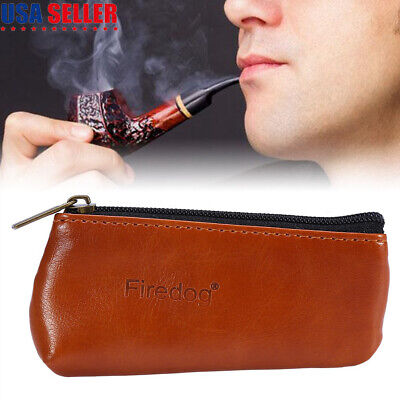 Portable Brown Leather Smoking Tobacco Pipe Pouch Case Holder Bag Storage Carry