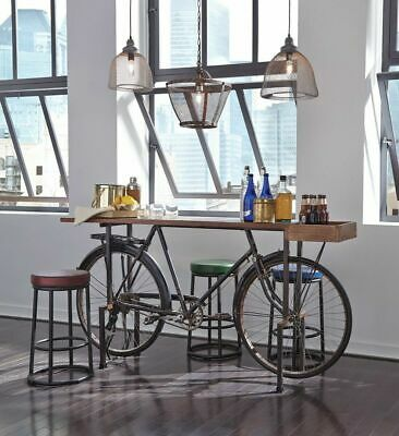 """74"""" Home Decor Dining Table Old Vintage Bicycle Base Reclaimed Wood Top Unique"""