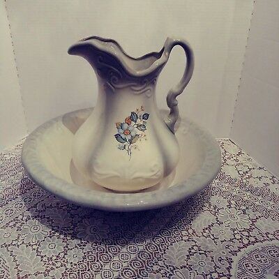 Antique/ Vintage Pitcher And Wash Basin Off-white & Greyish-green With Flowers