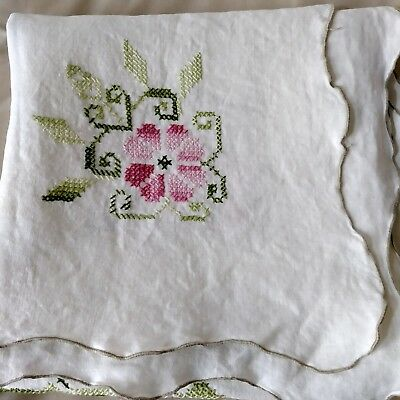 Small Vintage Embroidered Tablecloth White w/ Pink & Green Floral