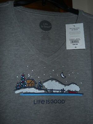 NWT Life is Good Women's L Heather Gray Holiday Lake Scene L/S V-Neck T-Shirt
