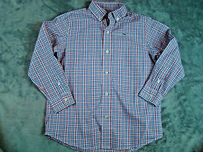 Vineyard Vines Boys Plaid Long Sleeve Button Whale Shirt Red White Blue Size 5