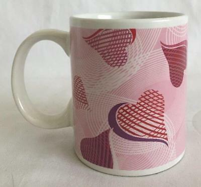 Coffee Tea Mug White With Pink Background Multishades of Pink Hearts