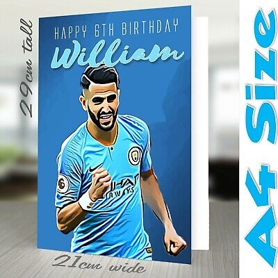 Riyad Mahrez Man City A4 Personalised Birthday Card Son Dad Father Grandad Son