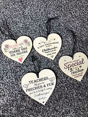 Wooden Heart Thank You Teacher Childminder End Of Term Gift Sign Plaques