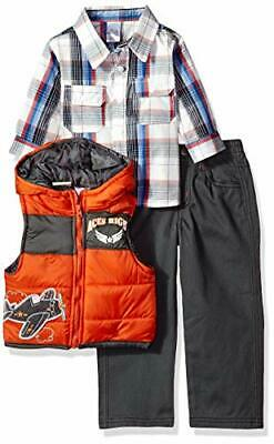 Little Rebels Baby Boys' 3 Piece Plaid And Airplane Vest And Pant Set Size 18M