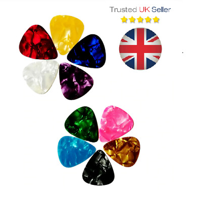 Guitar Picks x10 - mixed colours/Medium 0.71mm/Celluloid/Electric Bass Acoustic
