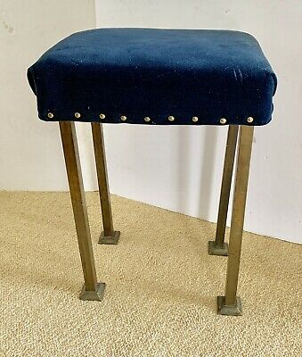 Antique Vintage Mission Arts Crafts Movement Footstool Ottoman In Brass C 1920