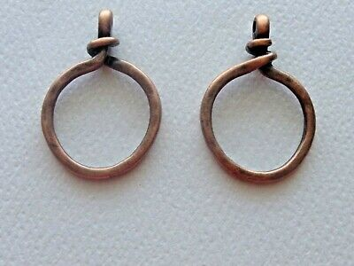 Lot Of 2 Twisted Circle Ring Closed Loop Pendant Connector Link Antique Copper