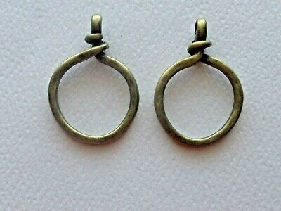 Lot Of 2 Twisted Circle Ring Closed Loop Pendant Connector Link Antique Bronze