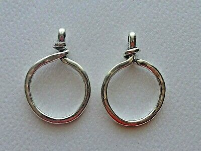 Lot Of 2 Twisted Circle Ring Closed Loop Pendant Connector Link Antique Silver