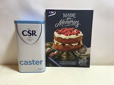 Collectible CSR Sugar Tin Caster Sugar Empty Canister & CSR Memories Recipe Book