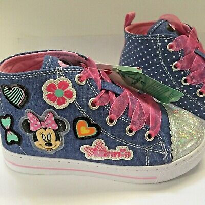 3d61adb23c7c Disney Junior Minnie Mouse Sneakers Blue Girls Size 10 Pink Laces New