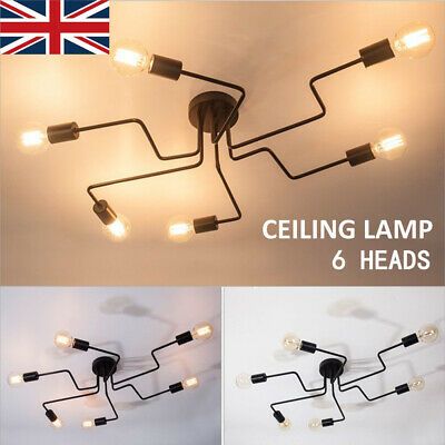 6 Way Modern Industrial Style Home Ceiling Lights Black Metal Lamp Fitting Decor