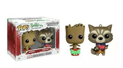 Guardians Of The Galaxy Funko Pop Bobblers Christmas Groot And Rocket.