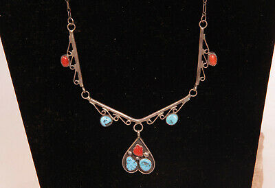 """Navajo Sterling Silver Pendant Necklace with Turquoise and Coral 19"""" long c.1970"""