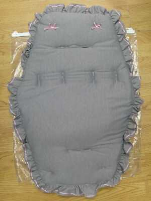 Beautiful  Pram    Universal Fit  Buggy Liner  Colour  Light  Grey / Pink   Bows