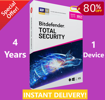 Bitdefender Total Security 2019 /2020-1 Device 4 Years-Download-INSTANT DELIVERY