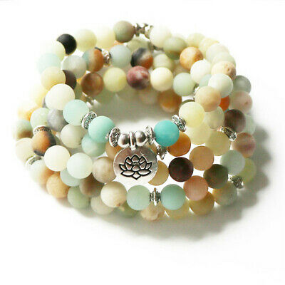 6mm Frosted Amazonite 108 Beads Lotus Pendant Bracelet Wrist energy spirituality