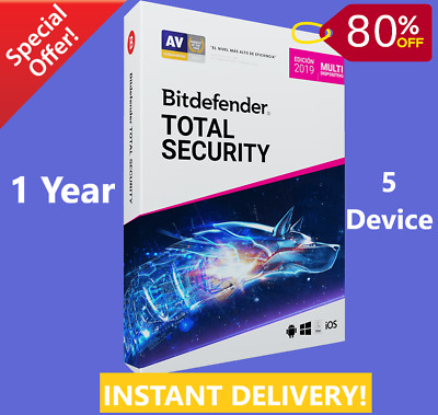Bitdefender Total Security 2019 | 5 Device 1 Years | Download | INSTANT DELIVERY