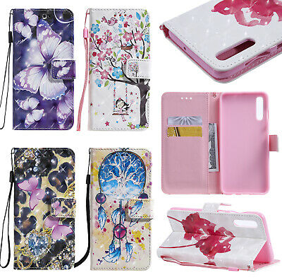 For Samsung Galaxy A20 A40 A50 A70 Patterned Wallet Case Flip Card Slots Cover
