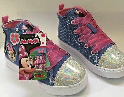 09e65a96a4a6 Disney Junior Minnie Mouse Sneakers Blue Girls Size 9 Pink Laces New
