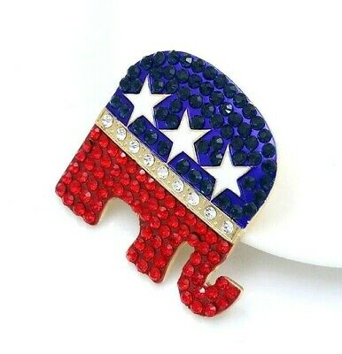 "Republican Party Elephant Symbol ""Grand Old Party"" Rhinestone Pin, Trump GOP Pin"