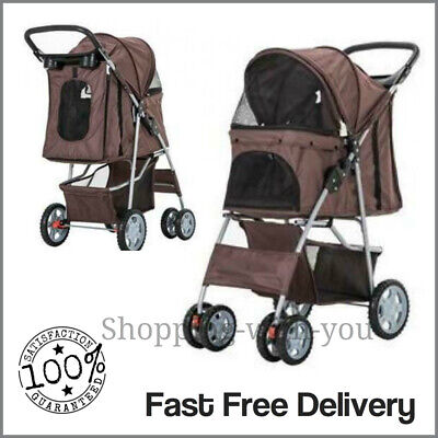 Brown Pet Stroller Pushchair Dog Puppy Cat Animal Pram Buggy Travel Carrier