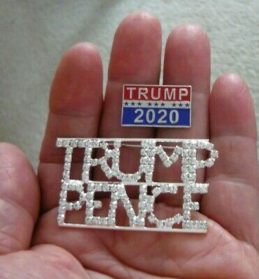 2 Great Trump Pins - Large Sparkling Rhinestone Trump Pence Pin & Trump 2020 Pin