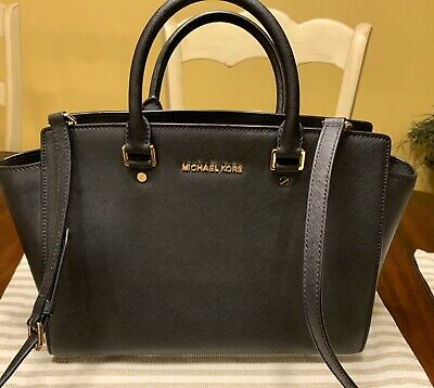 69f397ab7638 Michael Kors Selma Black Saffianno Leather Handbag Large Satchel & Crossbody
