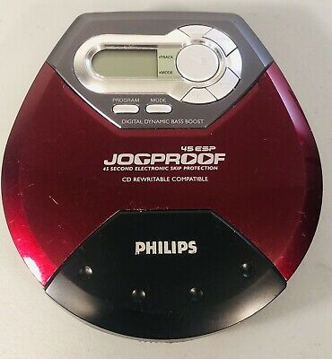 Philips Red Personal CD Player Jogproof 45 ESP Bass Boost (Tested)