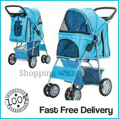 Blue Pet Stroller Pushchair Dog Puppy Cat Animal Pram Buggy Travel Carrier