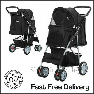 Black Pet Stroller Pushchair Dog Puppy Cat Animal Pram Buggy Travel Carrier