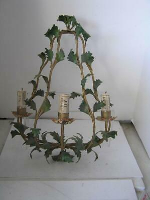 """Antique Sconce Italian Metal Toleware Candleabra for 3 Candles hang on Wall 22"""""""