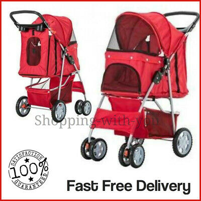 Red Pet Stroller Pushchair Dog Puppy Cat Animal Pram Buggy Travel Carrier