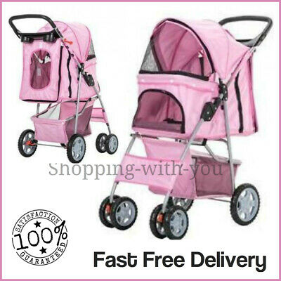 Pink Pet Stroller Pushchair Dog Puppy Cat Animal Pram Buggy Travel Carrier